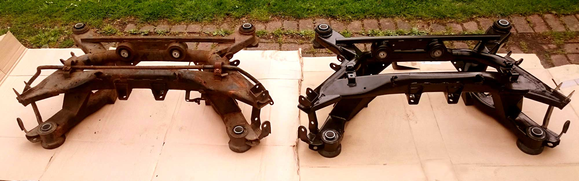 Old and New Subframes Aston Martin chassis subframes